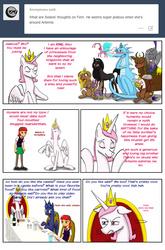 Size: 1403x2120 | Tagged: source needed, useless source url, safe, artist:redanon, idw, baast, princess celestia, princess luna, oc, oc:femanon, bat pony, breezie, diamond dog, dragon, griffon, human, pony, unicorn, yak, bast, bastet, comic, jealous, king solaris, prince artemis, prince solaris, princess, rule 63, tumblr
