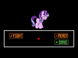 Size: 639x479 | Tagged: safe, artist:luckreza8, edit, starlight glimmer, the cutie re-mark, eyes closed, frown, gritted teeth, spoilers for another series, undertale