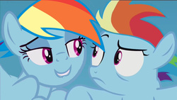 Size: 1136x640 | Tagged: double rainbow, duality, edit, edited screencap, filly, filly rainbow dash, implied selfcest, lip bite, narcissism, rainbow dash, safe, screencap, self ponidox, the cutie re-mark, this will end in timeline distortion, time paradox, twilest dashle