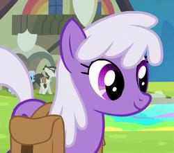 Size: 614x542 | Tagged: safe, screencap, gizmo, lavender august, linky, shoeshine, earth pony, pony, trade ya, background pony, cropped, female, gyro, male, mare, recolor, saddle bag, smiling, solo focus, stallion