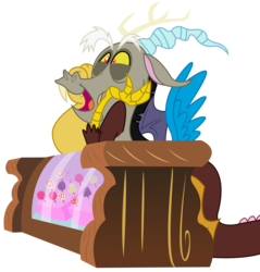 Size: 3203x3353 | Tagged: safe, artist:sketchmcreations, discord, what about discord?, candy, counter, food, happy, open mouth, simple background, solo, transparent background, vector