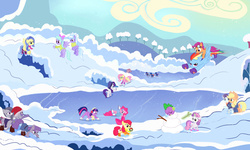 Size: 3936x2361 | Tagged: safe, artist:you have no idea, apple bloom, applejack, cloudchaser, coloratura, flitter, fluttershy, limestone pie, marble pie, maud pie, pinkie pie, rainbow dash, rarity, scootaloo, spike, sunshower, sweetie belle, twilight sparkle, alicorn, pony, clothes, cutie mark crusaders, earmuffs, female, ice hockey, ice skating, lake, mane six, mare, scarf, skates, snowman, twilight sparkle (alicorn), winter