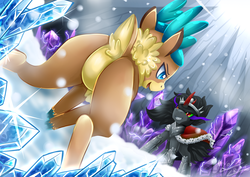 Size: 2120x1500 | Tagged: artist:vavacung, community related, crossover, deer, featureless crotch, female, grin, ice, king sombra, male, plot, pony, reindeer, safe, smiling, stallion, them's fightin' herds, unicorn, velvet reindeer