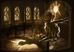 Size: 1754x1240 | Tagged: safe, artist:plainoasis, princess celestia, backlighting, epic, halo, library, size difference, statue
