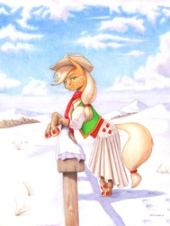 Size: 1100x1452 | Tagged: safe, artist:baron engel, applejack, earth pony, pony, bipedal leaning, breath, clothes, dress, female, fence, pencil drawing, snow, solo, traditional art, winter