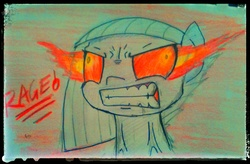 Size: 2292x1500   Tagged: safe, artist:aer0 zer0, limestone pie, angry, fire, meme, rage, rage face, solo