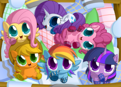 Size: 1395x1000 | Tagged: safe, artist:berrypawnch, applejack, fluttershy, pinkie pie, rainbow dash, rarity, twilight sparkle, alicorn, pony, behaving like a cat, berrypawnch is trying to murder us, big eyes, c:, chibi, clothes, cute, dashabetes, diapinkes, female, hnnng, jackabetes, laundry basket, looking at you, looking up, mane six, mare, mouth hold, on back, prone, raribetes, shyabetes, sitting, smiling, socks, twiabetes, twilight sparkle (alicorn), underhoof, weapons-grade cute