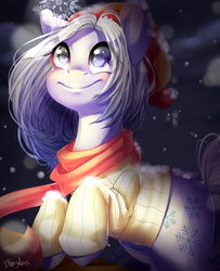 Size: 709x873 | Tagged: safe, artist:iponylover, oc, clothes, scarf, snow, snowfall, snowflake, winter