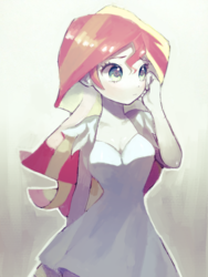 Size: 768x1024 | Tagged: artist:nitronic, beautiful, breasts, cleavage, clothes, cute, dress, female, human, humanized, looking away, safe, shimmerbetes, shy, simple background, solo, sundress, sunset shimmer, white background, white dress