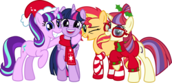 Size: 6766x3272 | Tagged: safe, artist:osipush, moondancer, starlight glimmer, sunset shimmer, twilight sparkle, alicorn, pony, unicorn, clothes, counterparts, cute, dancerbetes, glimmerbetes, happy, hat, magical quartet, magical quintet, magical trio, one eye closed, santa hat, scarf, shimmerbetes, simple background, socks, sockset shimmer, striped socks, sweater, transparent background, twiabetes, twilight sparkle (alicorn), twilight's counterparts, vector, wink, winter outfit