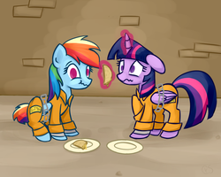 Size: 1000x800 | Tagged: safe, artist:xwreathofroses, rainbow dash, twilight sparkle, alicorn, pony, bound wings, chains, clothes, cuffs, eating, female, food, levitation, magic, mare, prison, prison outfit, prisoner rd, prisoner ts, quesadilla, scrunchy face, shackles, telekinesis, they're just so cheesy, twilight sparkle (alicorn)