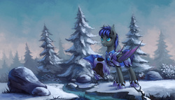 Size: 1920x1098 | Tagged: safe, artist:asimos, oc, oc only, oc:au hasard, bat pony, pony, armor, fir tree, forest, helmet, night guard, royal guard, scenery, snow, solo, tree, winter