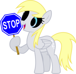 Size: 3573x3477 | Tagged: safe, artist:yanoda, edit, edited edit, derpy hooves, pegasus, pony, rainbow falls, black sclera, derpy's flag, edit of an edit of an edit, female, gaster blaster, glowing eyes, glowing eyes of doom, hoof hold, mare, open mouth, recolor, sans (undertale), simple background, smiling, spoilers for another series, stop sign, transparent background, undertale, vector
