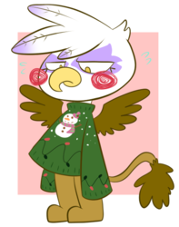 Size: 444x563 | Tagged: artist:typhwosion, bipedal, christmas sweater, clothes, gilda, griffon, safe, simple background, solo, sweater, transparent background