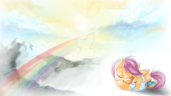 Size: 1600x900 | Tagged: artist:feather-ponyart, cuddling, eyes closed, mountain, plushie, prone, rainbow, rainbow dash, safe, scenery, scootaloo, snuggling, solo, watermark