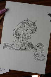 Size: 3072x4608 | Tagged: artist:lighane, crossover, crying, league of legends, safe, scrapes, smiling, soraka, summoner showcase, sweetie belle, traditional art