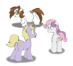 Size: 828x753 | Tagged: artist:mlp-pregnancy-is-magic, dinky hooves, embarrassed, half pint, older, pipi, pipsqueak, pipsqueak (female), pregnant, rule 63, safe, silver bell, sweetie belle, twerpy hooves