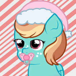 Size: 501x500 | Tagged: artist:jolteongirl, hat, northash, oc, oc only, oc:sonic swirl, offspring, pacifier, parent:oc:northern haste, parent:rainbow dash, parents:canon x oc, parents:northash, safe, santa hat, solo