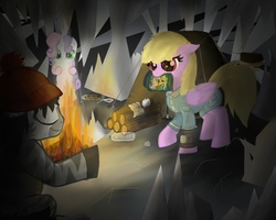 """Size: 1500x1200   Tagged: safe, artist:lemmy, sweetie belle, oc, oc:dazzling """"dodo"""" dusk, earth pony, pegasus, pony, robot, robot pony, unicorn, fallout equestria, fallout equestria: the fossil, beanie, bottle, campfire, eyes closed, female, food, hat, hooves, horn, log, nose wrinkle, pipbuck, snow, sweetie bot, tent, wood"""