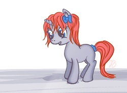 Size: 1680x1223   Tagged: safe, artist:raddjuret, oc, oc only, fallout equestria, fallout equestria: the fossil, bow, foal, hair bow, solo