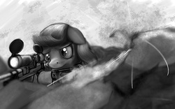 """Size: 1280x800   Tagged: safe, artist:warpony, oc, oc only, oc:dazzling """"dodo"""" dusk, earth pony, pony, fallout equestria, fallout equestria: the fossil, 360 noscope, bullet, female, floppy ears, gun, hooves, mare, monochrome, optical sight, pipbuck, rifle, rock, sad, scope, sniper, sniper rifle, solo, war, weapon"""