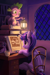 Size: 609x900 | Tagged: dead source, safe, artist:maggwai, spike, twilight sparkle, alicorn, pony, book, chair, cup, desk, duo, female, lamp, mare, night, perch, plushie, reading, twilight sparkle (alicorn), window