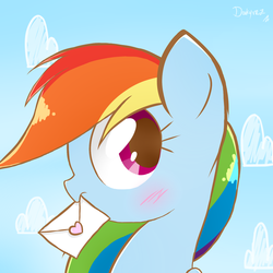 Size: 1500x1500 | Tagged: safe, artist:darkynez, rainbow dash, blushing, bust, cute, dashabetes, envelope, female, letter, love letter, mouth hold, portrait, profile, solo