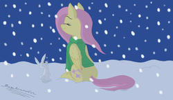 Size: 4400x2550 | Tagged: safe, artist:megaanimationfan, angel bunny, fluttershy, bottomless, clothes, digital art, eyes closed, folded wings, green sweater, it's a pony kind of christmas, looking up, night, outdoors, partial nudity, pink hair, pink mane, pink tail, profile, relaxed, signature, sitting, smiling, snow, snowfall, sweater, sweatershy, yellow coat