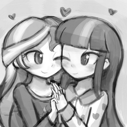 Size: 500x500 | Tagged: safe, artist:lumineko, sunset shimmer, twilight sparkle, comic:sunset shimmer's finger technique, equestria girls, rainbow rocks, blushing, clothes, cropped, explicit source, female, heart, lesbian, monochrome, one eye closed, pajamas, shipping, sunsetsparkle, twilight sparkle (alicorn)