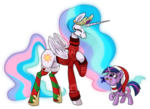 Size: 1242x902 | Tagged: safe, artist:sunbusting, princess celestia, twilight sparkle, candy, candy cane, christmas, christmas sweater, clothes, cute, cutelestia, eyes closed, filly, filly twilight sparkle, food, hat, momlestia fuel, mouth hold, raised hoof, santa hat, simple background, socks, stockings, striped socks, sweater, transparent background, twiabetes