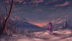 Size: 2560x1440 | Tagged: dead source, safe, artist:shamanguli, twilight sparkle, alicorn, pony, female, mare, scenery, scenery porn, snow, solo, sunset, twilight sparkle (alicorn), winter