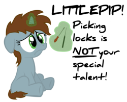 Size: 5000x4000 | Tagged: safe, artist:psalmie, oc, oc only, oc:littlepip, pony, unicorn, fallout equestria, absurd resolution, cute, fanfic, fanfic art, female, filly, floppy ears, foal, glowing horn, hooves, horn, levitation, magic, pipabetes, screwdriver, simple background, sitting, solo, telekinesis, text, transparent background, younger