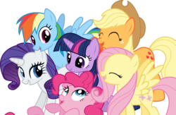 Size: 12288x8000 | Tagged: safe, artist:fehlung, applejack, fluttershy, pinkie pie, rainbow dash, rarity, twilight sparkle, absurd resolution, mane six, simple background, transparent background, vector