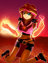 Size: 1275x1650 | Tagged: safe, artist:zelc-face, sunset shimmer, equestria girls, belly button, belt, breasts, busty sunset shimmer, female, fiery shimmer, fire, looking at you, midriff, pyromancer, pyromancy, solo, sunset