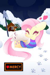 Size: 1280x1920 | Tagged: safe, artist:hungrysohma, fluttershy, dog, pegasus, pony, annoying dog, bottomless, clothes, crossover, cute, digital art, eyes closed, female, greater dog, heart, lying, mare, outdoors, partial nudity, pink hair, pink mane, pink tail, shyabetes, sleeping, smiling, snow, striped sweater, sweater, sweatershy, tongue out, undertale, yellow coat, zzz