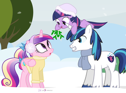 Size: 1000x735 | Tagged: advent calendar, artist:dm29, cute, cutedance, filly, filly twilight sparkle, holiday horse days, julian yeo is trying to murder us, mistletoe, pony, princess cadance, safe, shining adorable, shining armor, shipper on deck, snow, teenager, trio, twiabetes, twilight sparkle, twilight the shipper, twily, younger