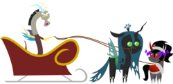 Size: 7710x3725 | Tagged: safe, artist:v0jelly, discord, king sombra, queen chrysalis, christmas, pointy ponies, simple background, sled