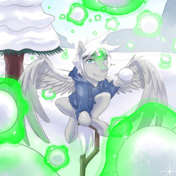 Size: 720x720 | Tagged: safe, artist:tarenest, oc, oc only, oc:zephyr wing, jack frost, snowball fight