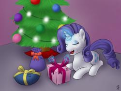 Size: 1280x960   Tagged: safe, artist:mkogwheel, rarity, christmas, christmas lights, christmas tree, female, it's a pony kind of christmas, present, solo, tree