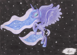 Size: 1920x1362 | Tagged: safe, artist:bronyhands, princess luna, solo