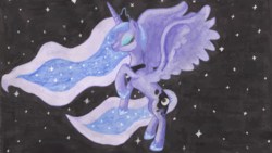 Size: 1024x576 | Tagged: safe, artist:bronyhands, princess luna, solo
