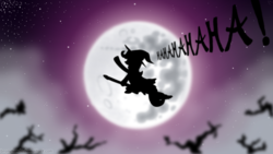 Size: 5760x3240 | Tagged: safe, artist:bronyhands, trixie, pony, unicorn, broom, dead tree, dialogue, female, flying, flying broomstick, full moon, laughing, mare, mare in the moon, moon, night, night sky, open mouth, silhouette, solo, stars, trixie's cape, trixie's hat, witch