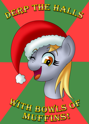 Size: 1000x1400 | Tagged: safe, artist:outofworkderpy, derpy hooves, pegasus, pony, abstract background, bust, christmas, cute, derp, derpabetes, female, food, hat, hearth's warming eve, mare, muffin, one eye closed, santa hat, singing, solo, sunburst background