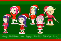 Size: 1500x1024 | Tagged: safe, artist:infinityr319, applejack, fluttershy, pinkie pie, rainbow dash, rarity, twilight sparkle, human, christmas, humanized, mane six