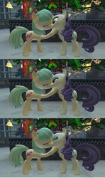 Size: 1360x2304 | Tagged: safe, artist:mk513, coco pommel, rarity, 3d, christmas, female, gmod, hearth's warming eve, holly, holly mistaken for mistletoe, kissing, lesbian, marshmallow coco, shipping, snow