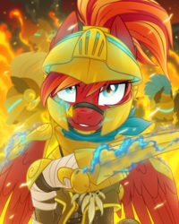 Size: 1600x2000 | Tagged: armor, artist:equestria-prevails, awesome, fire, helmet, hoof blades, hud, oc, oc:fire strike, oc only, pegasus, pony, safe