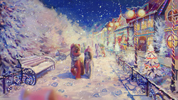 Size: 1400x788 | Tagged: safe, artist:son-trava, big macintosh, marble pie, earth pony, pony, background pony, bench, christmas, christmas lights, clothes, couple, depth of field, eye contact, female, fluffy, hair over one eye, hat, hoofprints, lamp, lamppost, leg fluff, male, marblemac, mare, open mouth, scarf, scenery, shipping, shoulder fluff, smiling, snow, snowfall, stallion, straight, unshorn fetlocks, walking, winter
