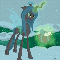 Size: 2000x2000 | Tagged: safe, artist:soveno, queen chrysalis, magic, present, snow, snowfall, solo, winter