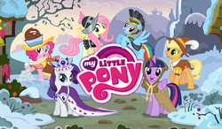 Size: 1024x600   Tagged: safe, screencap, applejack, chancellor puddinghead, clover the clever, commander hurricane, fluttershy, pinkie pie, princess platinum, private pansy, rainbow dash, rarity, smart cookie, twilight sparkle, alicorn, pony, clothes, costume, female, game, gameloft, hearth's warming, loading screen, looking at you, mane six, mare, my little pony logo, snow, twilight sparkle (alicorn)
