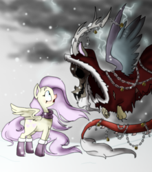 Size: 1024x1156 | Tagged: dead source, safe, artist:lifekore, discord, fluttershy, bells, chains, christmas, discoshy, female, horror, krampus, male, shipping, snow, straight